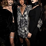 "Gigi posed with Rihanna and Bella backstage. Later, she shared a photo on Instagram, writing, ""What a legend. So blown away by this collection and show, @badgalriri. Thank you for making me a part of this night - you are everything."""