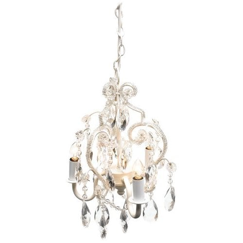 Tadpoles Three Bulb Chandelier in White Diamond