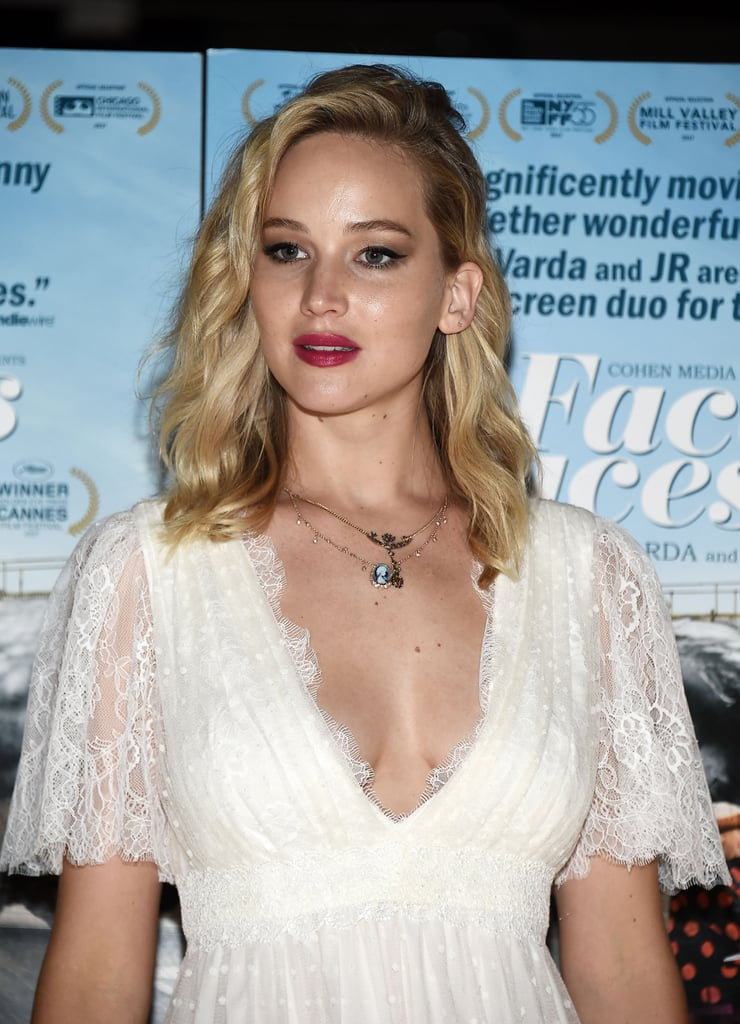 Jennifer Lawrence Wearing L. Wells Wedding Dress at Premiere