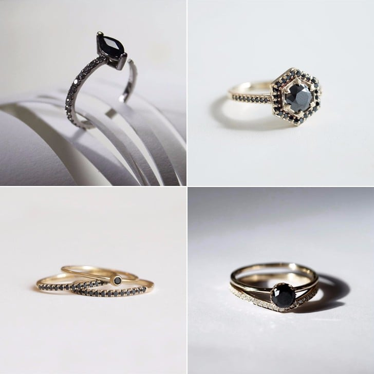 stone ring rings white black diamond engagement and unusual wedding three