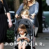 Sarah Jessica Parker and the twins took to the sidewalk.
