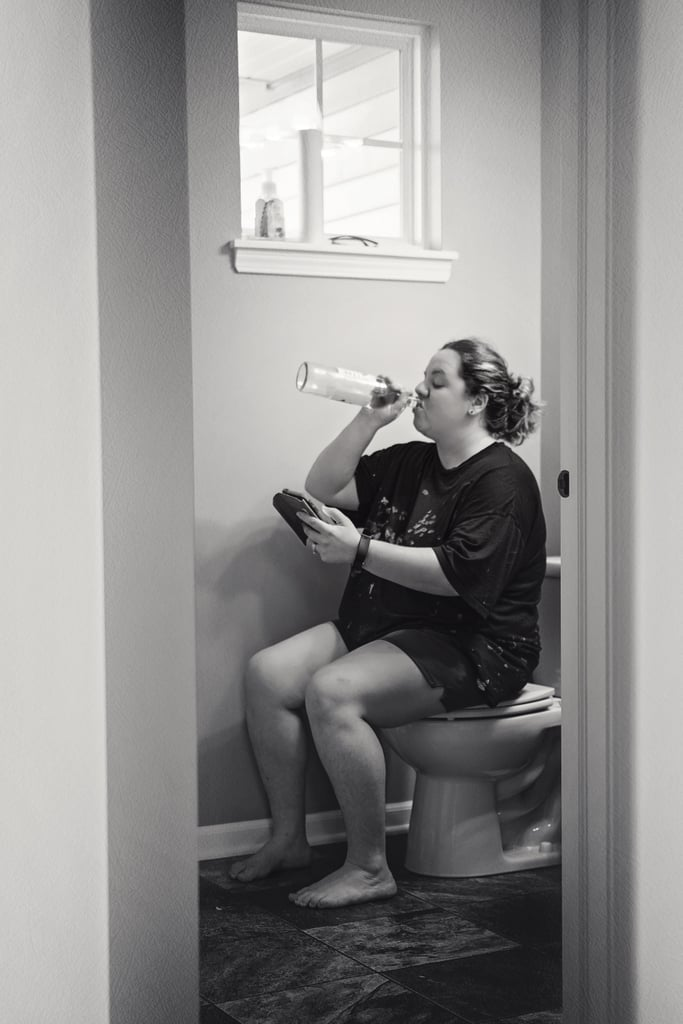 """Giedre Gomes, a mom of two boys and a photographer from Indiana, knows that raising little humans isn't always as easy as it appears on Instagram. In an effort to show the real and raw side of motherhood, she put her camera skills to work and captured the situations moms everywhere find themselves in every day in her recent photo series, appropriately titled """"Mother's Day."""" """"I always have crazy ideas in my head that keep me from sleeping till I make them happen, and this one was one of them,"""" she told POPSUGAR. """"I knew what I wanted to show in my pictures: not an outdoor portrait of a happy loving mommy but reality, everyday life, and routine. I knew I wanted to show a mother butt-naked on the toilet with no privacy.""""       Related:                                                                                                           This Photographer's Breathtaking Series Proves Moms Can Breastfeed Anytime, Anywhere               Without thinking twice, Giedre put out a call on Facebook to moms who were willing to be photographed. And that's when her neighbor Jamie, a mom of three, stepped up to the plate.  """"I knew I wanted to show a mother butt-naked on the toilet with no privacy."""" """"Jamie is just like me and doesn't care what people think,"""" she said. """"She said she wasn't afraid to pose on a toilet or let people see her unshaved legs, whereas the rest of the moms said that doing that was too much for them."""" Giedre also hoped that her photos would bring to light that stay-at-home moms aren't sitting around all day doing nothing.  """"I wanted to show that stay-at-home moms don't sleep all day. Many people think, 'Oh good for you, you're home all day, you don't have to work.' It may seem like it's easy because we do it every day and have everything under control,"""" she said. """"But it's not, it's hard work. Even my husband agrees I have a harder job than he does — and he works 12-hour shifts."""" At the end of the day, she wants other women to see her photos as a symbol of"""