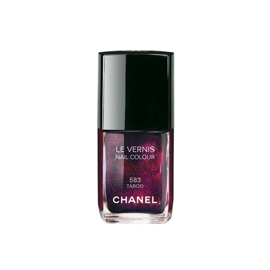 The newly launched Chanel Le Vernis in Taboo ($27) was the glistening dark shade that came down the Chanel Métiers d'Art Paris-Édimbourg show back in December. The rich violet shade is speckled with superfine red glitter for a scintillating effect.