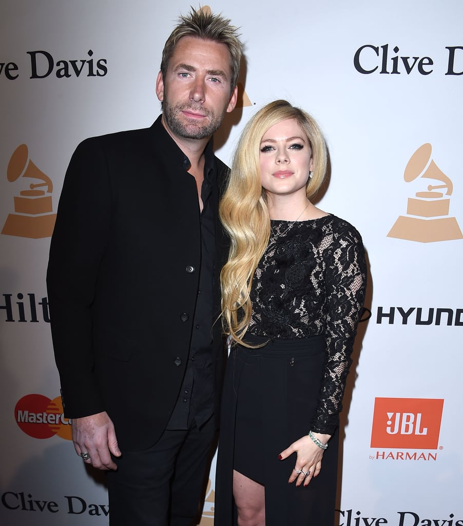 """Avril Lavigne and Chad Kroeger stepped out together for Clive Davis's annual pre-Grammys bash in LA on Sunday night. The estranged couple, who announced their plans to separate in September, kept close on the red carpet and partied inside with fellow musicians Alice Cooper and Gene Simmons. Avril shared a photo of herself and Chad at their table on Instagram, writing, """"Grammy Party ..... Feeling great. Lovely night.""""  While Avril wasn't wearing her wedding ring at the event, it's clear that she and Chad are getting along just fine since their split. In December, they reunited for a casual outing in LA — staying true to their statement, """"We are still, and forever will be, the best of friends, and will always care deeply for each other."""" Keep reading to see their photos from the night, and then check out more celebrity exes who are still friends."""