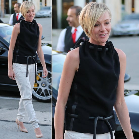Portia De Rossi New Hair: Portia De Rossi Wearing Black Leather Rope Top