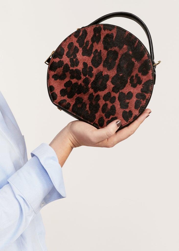 Violeta by Mango Leopard Leather Crossbody Bag