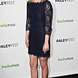 Emily VanCamp proved that snakeskin pumps complement even the most ladylike of looks — her color-injected pumps have such a playful effect against her navy dress.