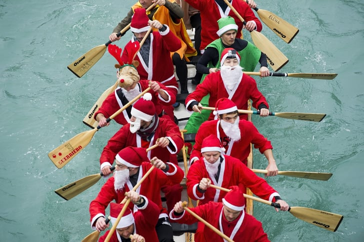 Rowers dressed in Santa Claus costumes took part in the Christmas Regatta on the Grand Canal in Venice, Italy.