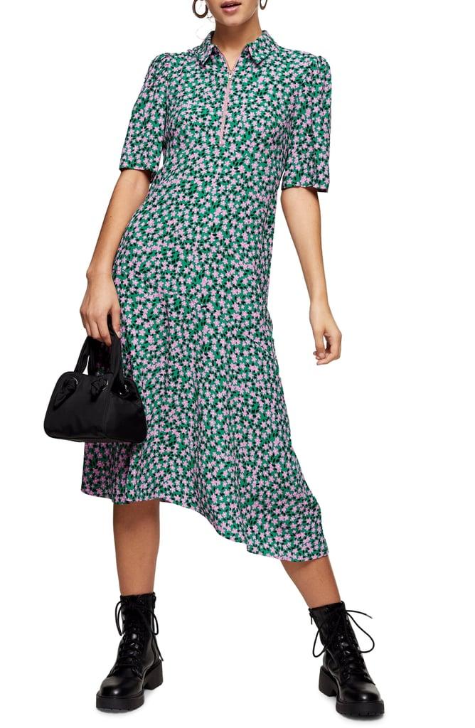 Topshop Ditsy Zip Thru Dress