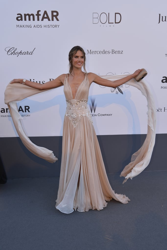 Alessandra Ambrosio showed off her gorgeous gown at the amfAR gala in Cannes on Thursday.