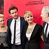 Jennifer Lawrence, Liam Hemsworth, and Elizabeth Banks posed with director Francis Lawrence.