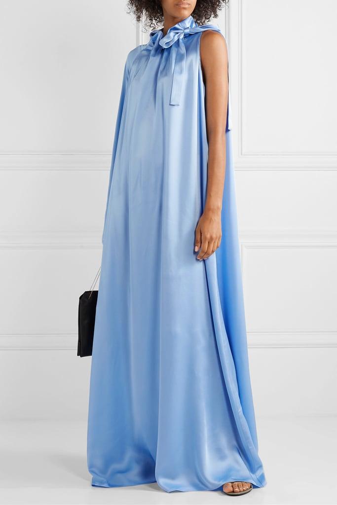 Rosetta Getty Tie-Neck One-Sleeve Satin Maxi Dress