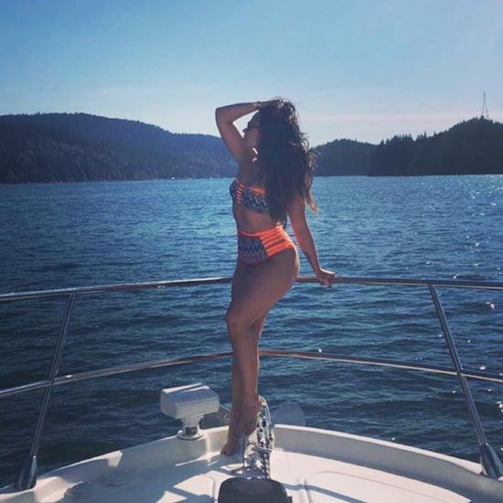 Demi Lovato's Orange Cutout Bikini August 2016