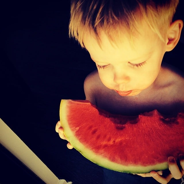 Luca Comrie looked like he was really enjoying his watermelon. Source: Instagram user hilaryduff
