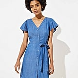 LOFT Chambray Flutter Tie-Waist Shirtdress