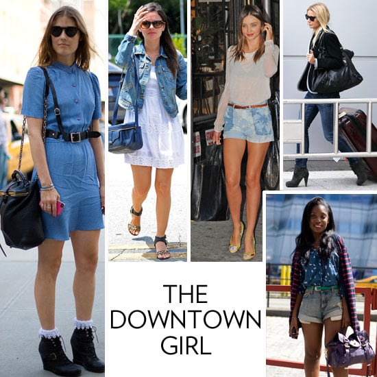 "Look to Miranda Kerr's subtly edged up Celiné tote or conjure up visions of Zoe Kravitz rocking a studded bucket bag in SoHo for further proof of your rough-around-the-bag-edges sensibility. Your bag holds some serious tough-girl appeal by way of metal hardware, distressed leather, and a less structured shape. Here's the thing, though — just because you prefer an edgier bag doesn't mean your sense of ""what's in"" has dulled. In fact, you tend to snag the season's hottest bags, with zippers, rivets, and studs in full effect, of course. Your penchant for quirky details, but always with a flair for what's ""in"" translates to your everyday lifestyle too. When you're not tapping into your creative side at work, you're front row at Webster Hall in NYC listening to the latest from Peter Bjorn and John or sipping on a Maker's Mark on the rocks at the latest art gallery opening in Chelsea.    The Bags You Love: Alexander Wang Diego bucket bag, Proenza Schouler PS1, 3.1 Phillip Lim Bang shoulder bag, and Balenciaga First Cassis bag.  Iconic Inspiration: The downtown-cool vibe was cultivated by creative types, daring style-setters, and edgy fashionistas like Madonna, Joan Jett, and Diane Keaton in Annie Hall. Flash foward — now you also look up to tough-meets-chic girls like Gwyneth Paltrow and Rachel Bilson.  What's on Your iPod: Jimi Hendrix, Azealia Banks, White Rabbits, Bon Iver, Foster the People, and Frank Ocean.   In this photo (clockwise from left): NYC style-setter, Rachel Bilson, Miranda Kerr, Gwyneth Paltrow, and Glamour editor Rajni Jacques"