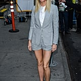 Gwyneth Paltrow wore shorts and a matching blazer to her Good Morning America appearance in NYC.