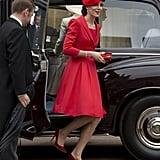 Kate Middleton Red Catherine Walker Coat Dress June 2016