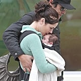 Jessica Marais kissed the head of her baby girl, Scout, during a grocery shopping trip with James Stewart in Sydney on July 26.