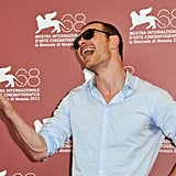 Michael Fassbender entertained photographers at a Venice Film Festival photocall for A Dangerous Method in September 2011.