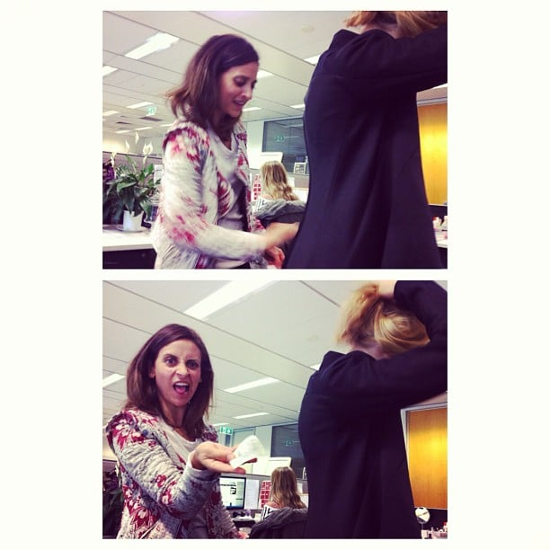 Time for a lint-sheet rubdown! Just an average arvo in the POPSUGAR office.