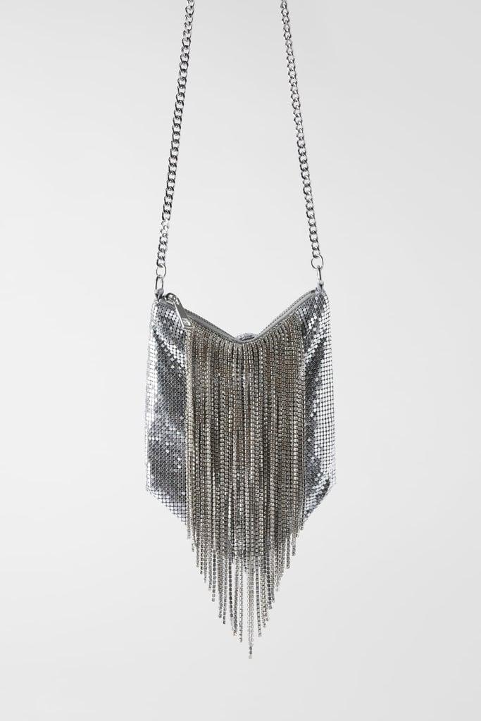 Zara Fringed Mesh Beading Crossbody Bag