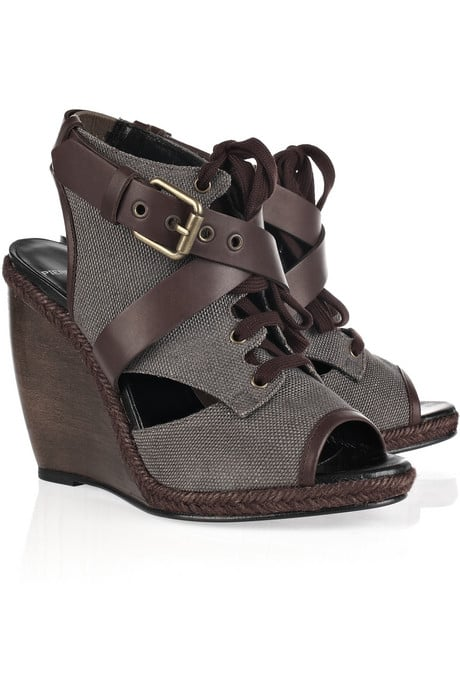 These Pierre Hardy Canvas and Leather Wedge Sandals ($600) are city chic.