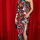 Vanessa Hudgens chose a colourful one-shoulder Naeem Khan sequined gown with a thigh-high slit and Christian Louboutin sandals for the Berlin premiere of Spring Breakers.