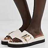 Tibi Hunter Embellished Leather Slides