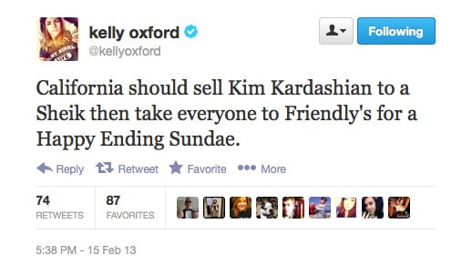 Sounds like Kimmy K doesn't have a fan in Kelly Oxford. . .