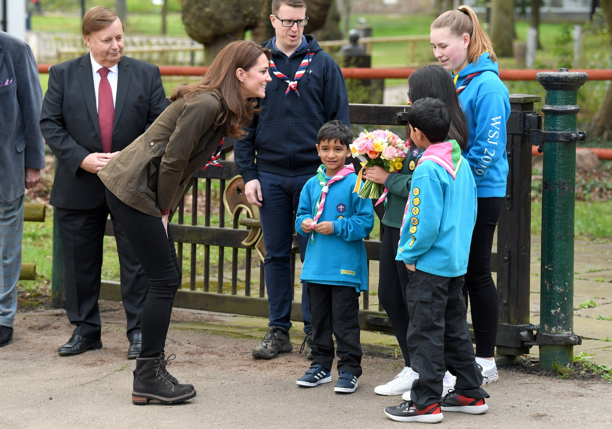 EPPING, ENGLAND - MARCH 28: Catherine, Duchess of Cambridge visits the Scouts' headquarters at Gilwell Park to learn more about the organisation's new pilot to bring Scouting to younger children, the visit will also celebrate the site's 100th anniversary year at Gilwell Park on March 28, 2019 in Epping, England. (Photo by Karwai Tang/WireImage)