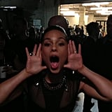 The Grammys tweeted a picture of Alicia Keys having fun.  Source: Twitter user TheGrammys
