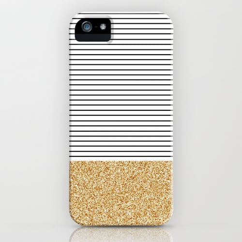 Stripes and Gold Glitter iPhone Case ($35)