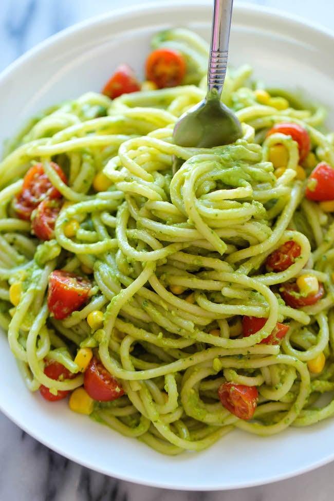 Basil and Garlic Avocado Pasta