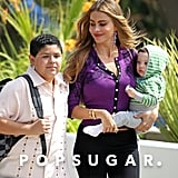 Sofia Vergara filmed with Rico Rodriguez and her onscreen baby on the Modern Family set in LA.