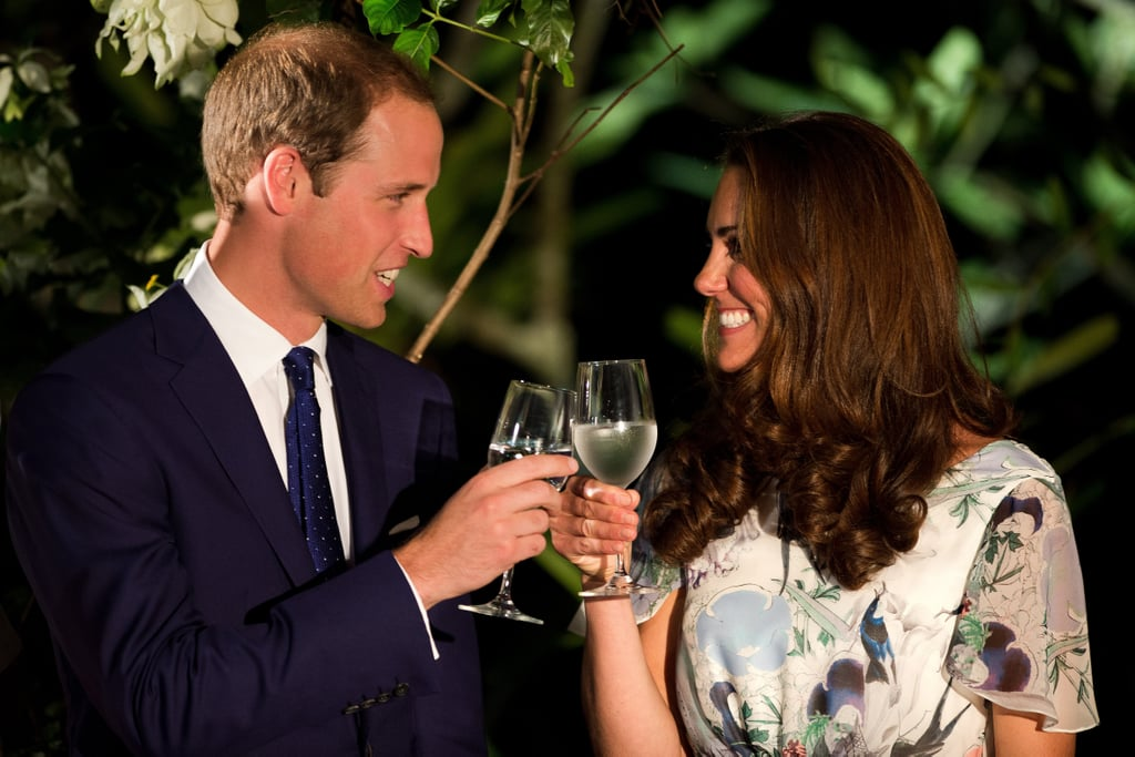Kate Middleton and Prince William had water in their wine glasses for a toast.