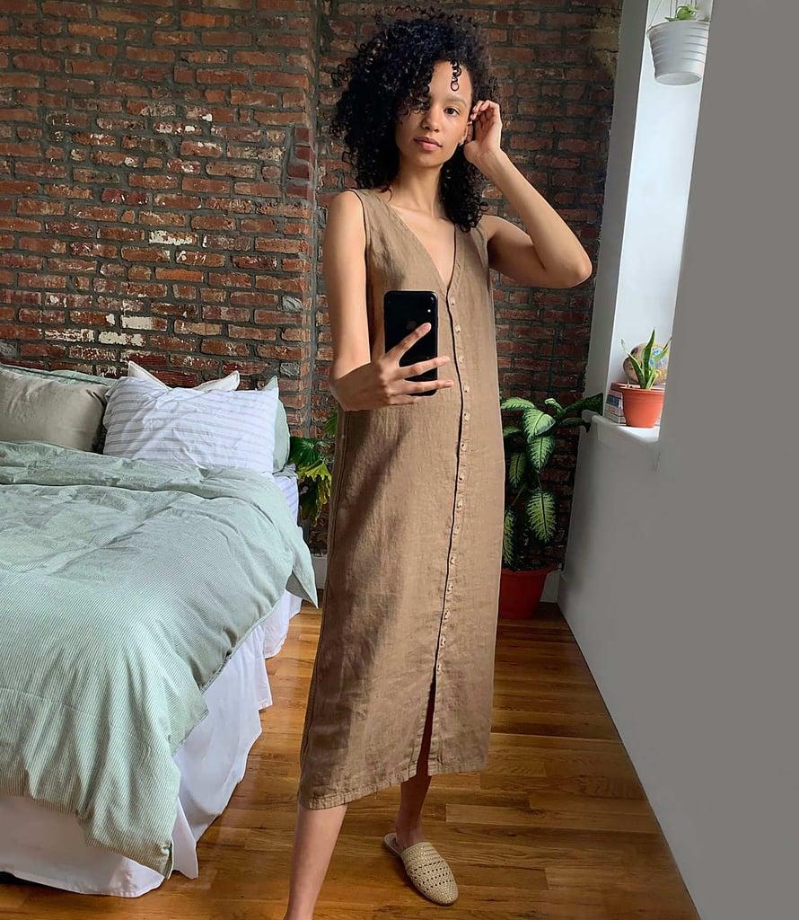 Lou & Grey Linen Button V-Neck Midi Dress