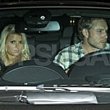Eric Johnson drives Jessica Simpson home.