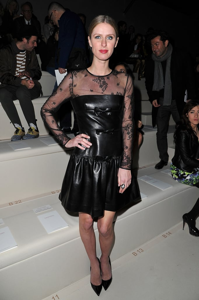 How sweet is this leather-and-lace look Nicky Hilton sported at Valentino?