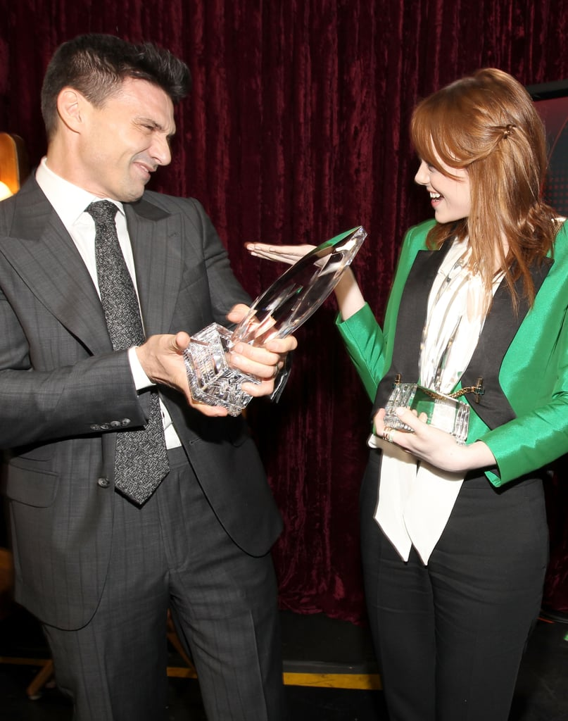 Emma Stone laughed while holding her People's Choice Award.