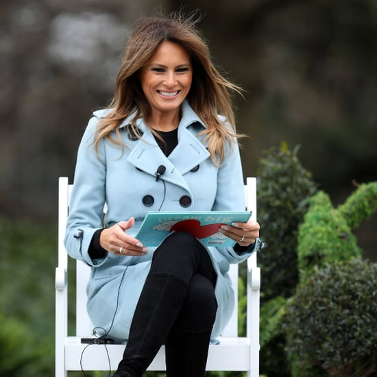Melania Trump Wearing a Blue Burberry Coat