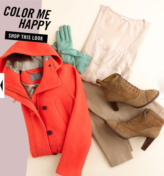 Tangerine and mint make a neutral outfit into somethin' else.