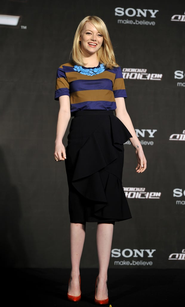 Emma Stone wore Burberry Prorsum to a The Amazing Spider-Man press conference in Seoul.