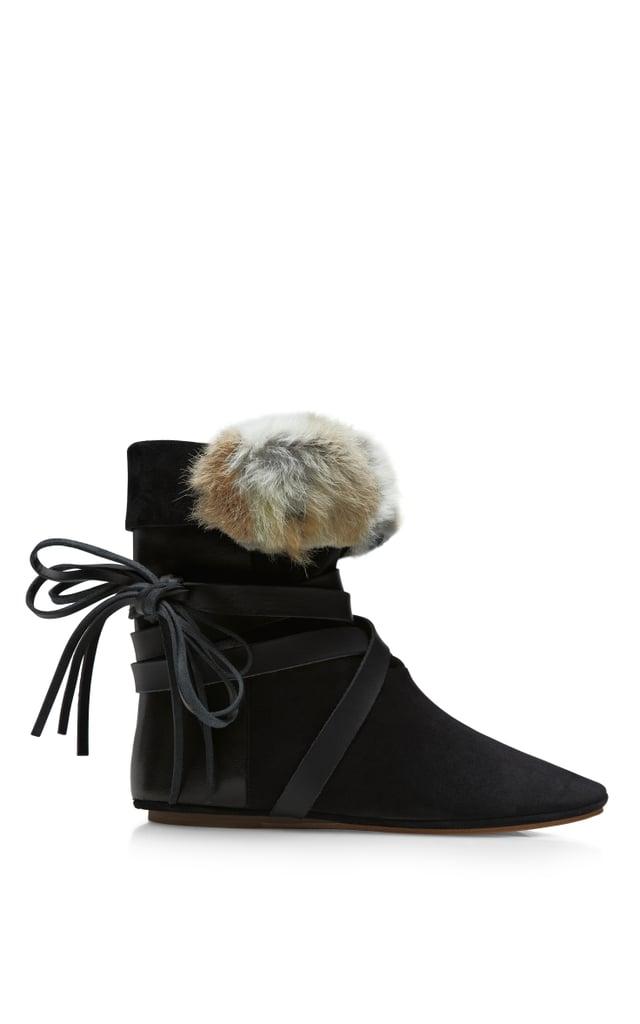 Isabel Marant flat fur-trimmed Nia boot ($810)