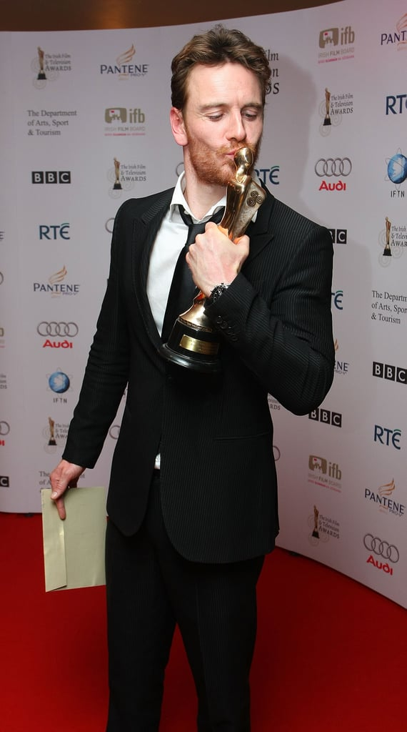Michael Fassbender had nothing but love for his Irish Film & TV Award in February 2009 in Dublin.