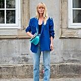 Autumn Outfit Idea: Blue Blazer + Jeans + Snake Print Boots