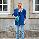 Fall Outfit Idea: Blue Blazer + Jeans + Snake-Print Boots