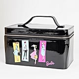 Barbie X Unique Vintage Black Patent Leatherette & Illustration Train Case
