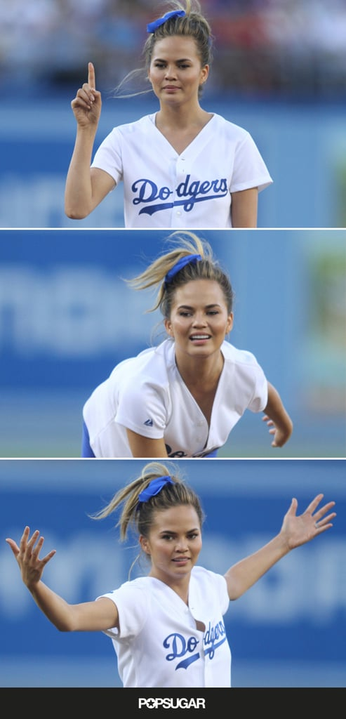 Chrissy Teigen Throwing First Pitch at LA Dodgers Game