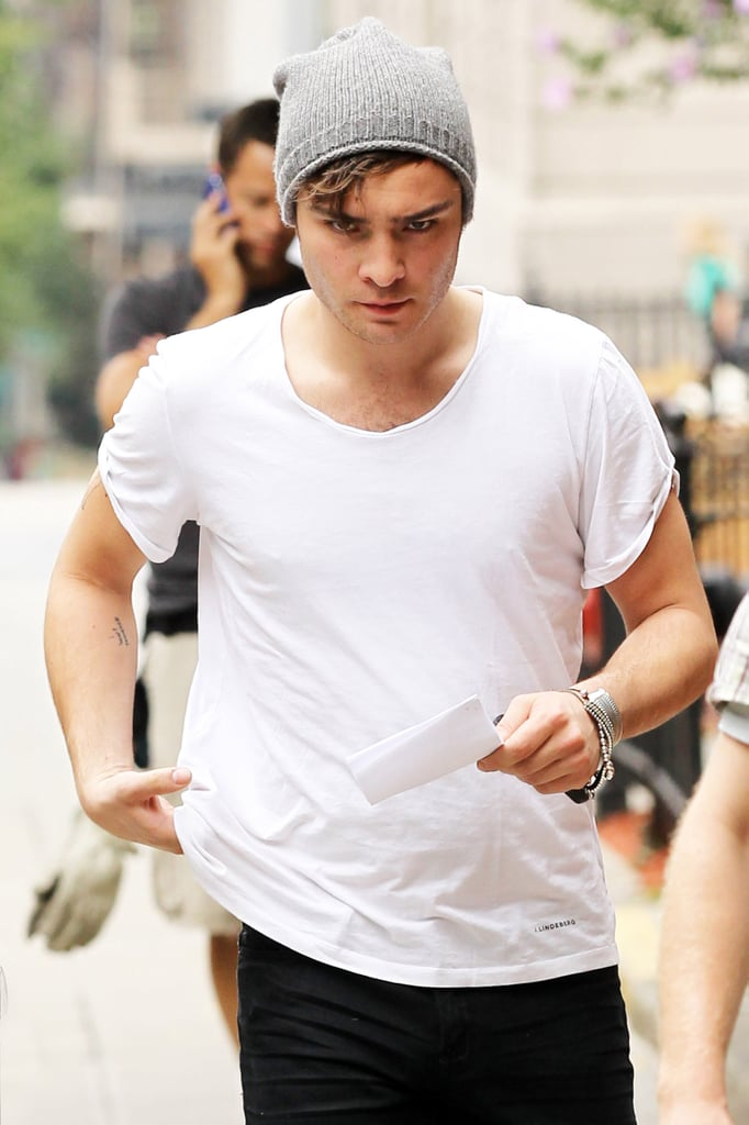 Ed Westwick, Blake Lively, Penn Badgley, Leighton Meester Filming Gossip Girl in New York